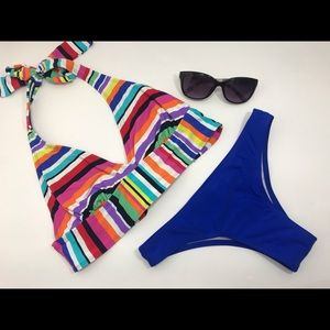 2 piece bikini swim suit halter top cheekie bottom